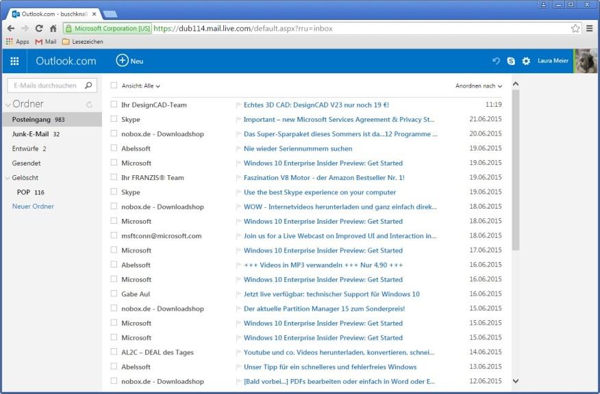 Screenshot 1 - Skype für Outlook.com