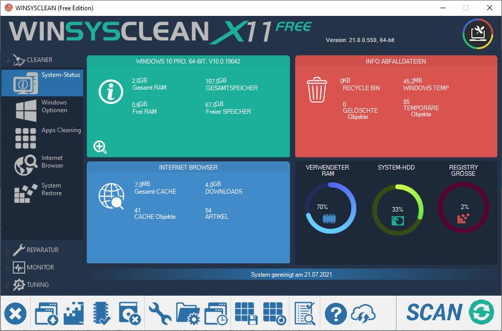Screenshot 1 - WinSysClean X11