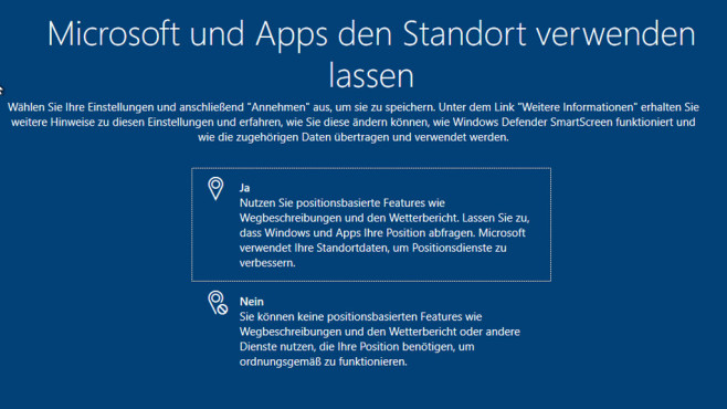 Windows 10: Standort © COMPUTER BILD