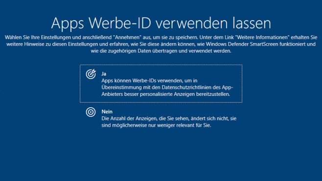 Windows 10: Werbe-ID © COMPUTER BILD