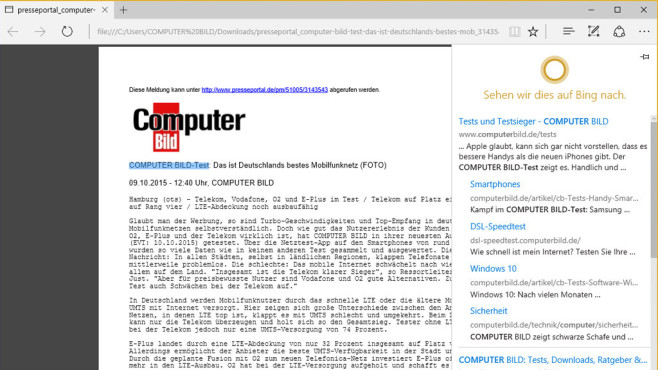 Cortana-Suche für Edge ©COMPUTER BILD