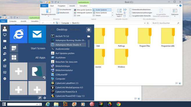 Windows 10: Die besten Funktionen schon heute nutzen Startmenü, Symbole, Suchfeld: Das Windows 10 Transformation Pack bietet Zukunft-Optik für lau.©COMPUTER BILD