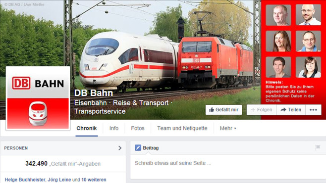 Screenshot Deutsche Bahn bei Facebook ©COMPUTER BILD