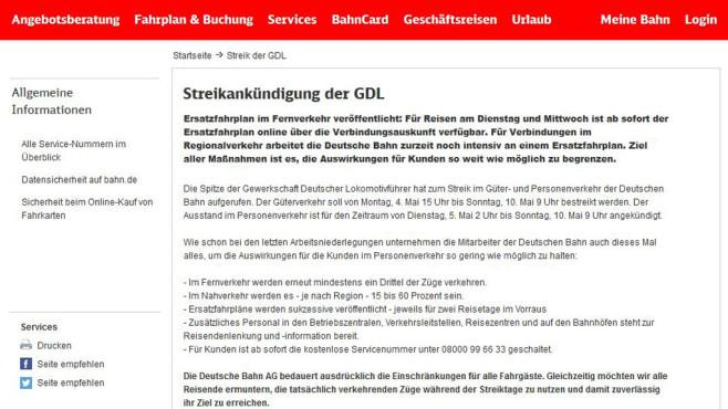 Screenshot Webseite Deutsche Bahn ©COMPUTER BILD
