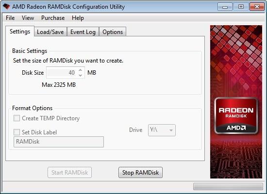 Screenshot 1 - AMD Radeon RAMDisk Configuration Utility