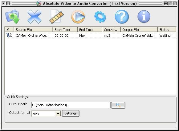 Screenshot 1 - Absolute Video to Audio Converter