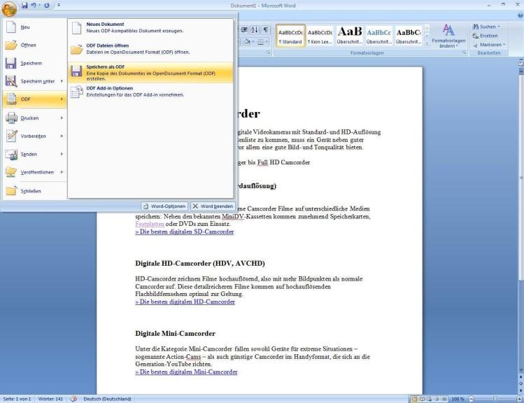 Screenshot 1 - ODF-Add-in for Office