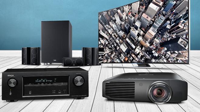 Smart-TV, Beamer, Boxen: So wird Ihr Wohnzimmer zum Heimkino Spektakuläre Film-Erlebnisse gibt es im Wohnzimmer nur mit der richtigen Technik. COMPUTER BILD hat Fernseher, Boxen & Co. für Sie getestet.©Denon, Panasonic,  Philips, Samsung, Teufel,  Coloures-pic - Fotolia.com