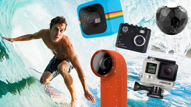GoPro Action-Cam Neuheiten 2014: Alle Highlights in der Übersicht Es muss nicht immer die teure GoPro sein: Action-Cams gibt es wie Sand am Meer. COMPUTER BILD zeigt Trends und Neuheiten 2014.©GoPro, HP, Polaroid, HTC,360Fly EpicStockMedia - Fotolia.com