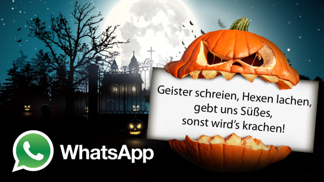 Die besten Halloween-Sprüche für WhatsApp ©WhatsApp, kaktus2536 - Fotolia.com, freshidea - Fotolia.com