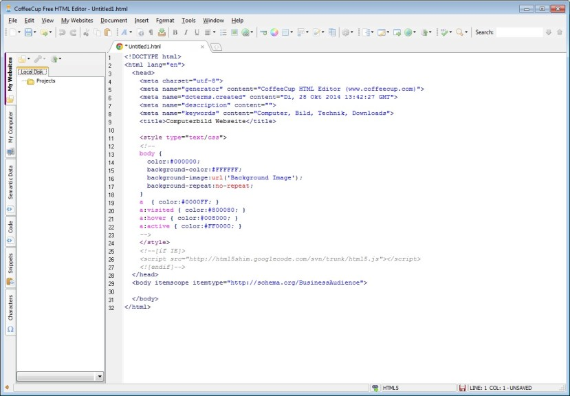 Screenshot 1 - CoffeeCup Free HTML Editor
