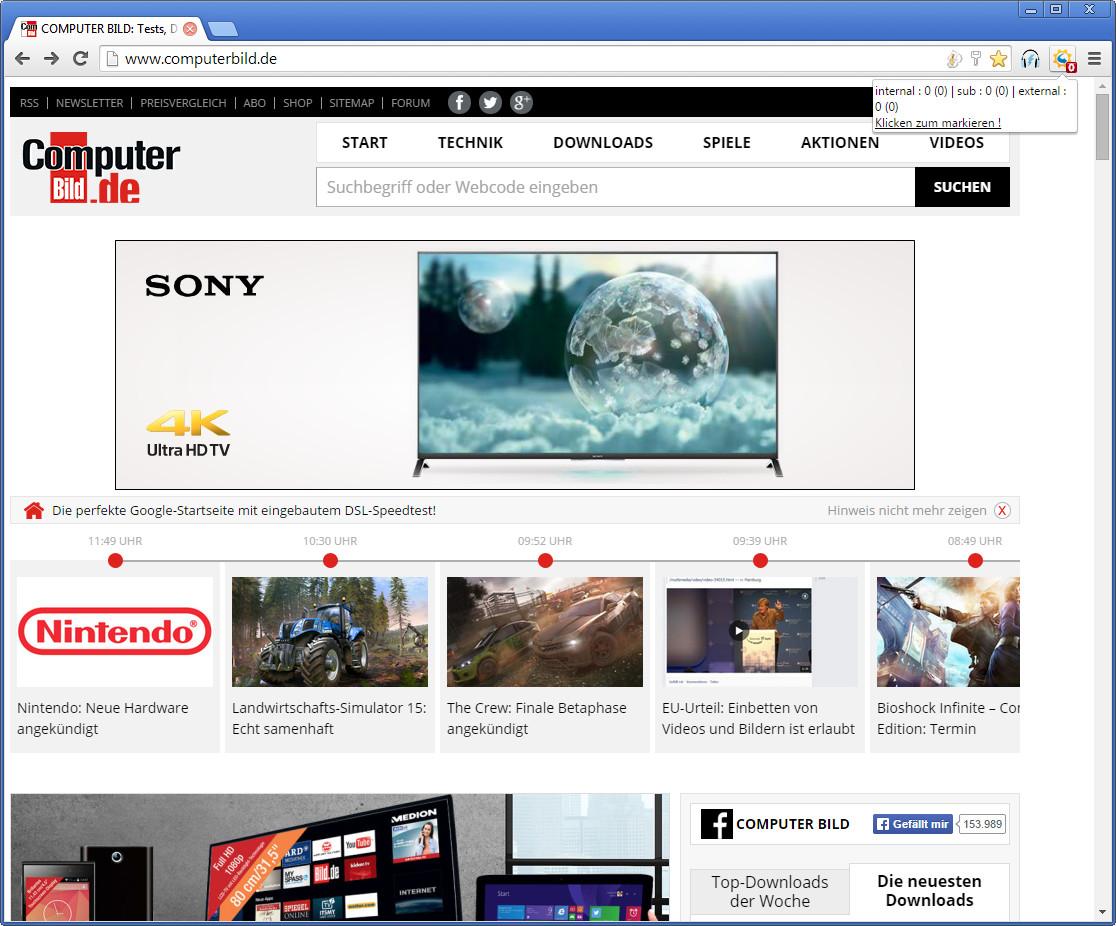 Screenshot 1 - LinkParser für Chrome