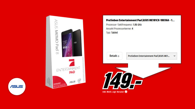 Asus MeMO Pad 8 (ProSieben Entertainment Pad) ©Saturn