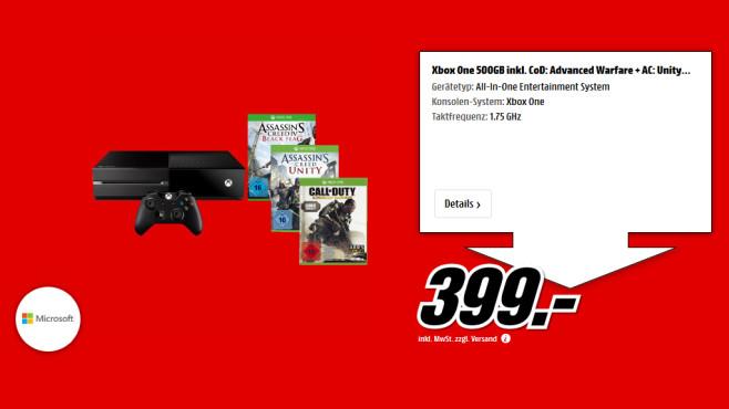 Microsoft Xbox One + Assassin's Creed: Unity + Assassin's Creed 4 + CoD: Advanced Warfare ©Saturn