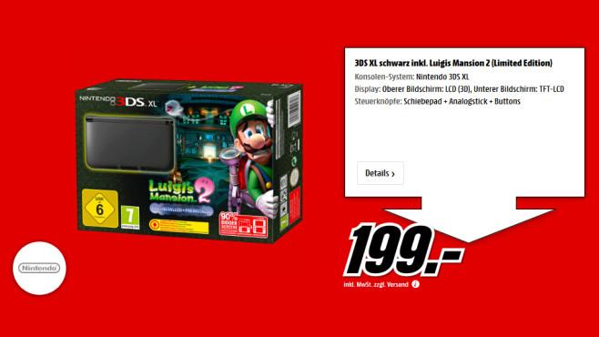 Nintendo 3DS XL schwarz + Luigi's Mansion 2 ©Saturn