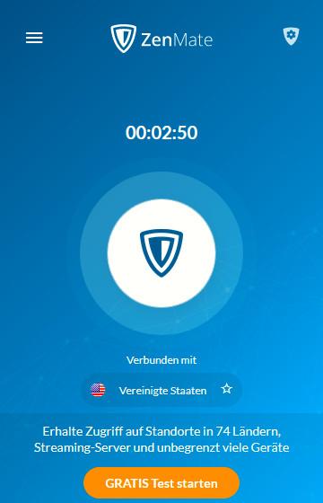 Screenshot 1 - ZenMate Free VPN für Firefox