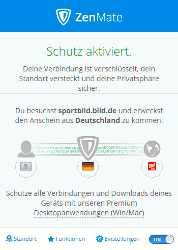 Screenshot 1 - ZenMate VPN für Opera