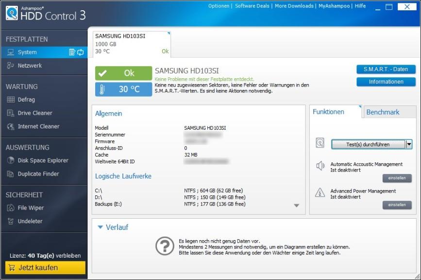 Screenshot 1 - Ashampoo HDD Control 3