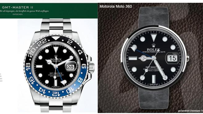 Dreiste Ziffernblatt-Plagiate auf Smartwatches ©COMPUTER BILD, Rolex, go2android Developer Team
