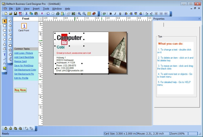 Screenshot 1 - Business Card Designer Pro
