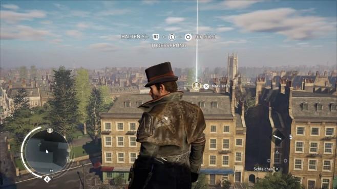 Test: Assassin's Creed – Syndicate Dach mit Aussicht und guter Weitsicht.©Ubisoft