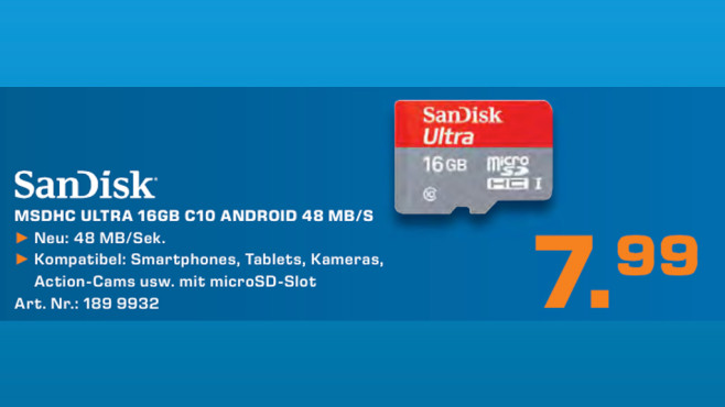 Sandisk Ultra microSDHC 16GB Class 10 UHS-I (SDSDQUAN-016G-G4A) © Saturn