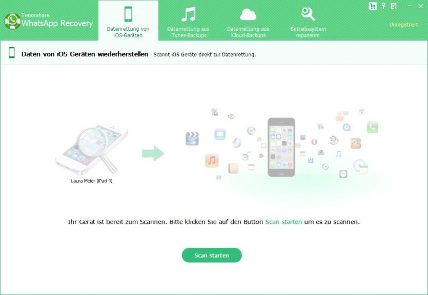 Screenshot 1 - Tenorshare WhatsApp Recovery