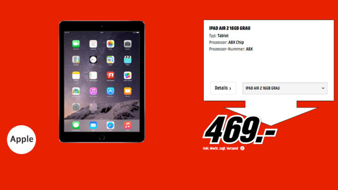 Apple iPad Air 2 16GB WiFi © Media Markt