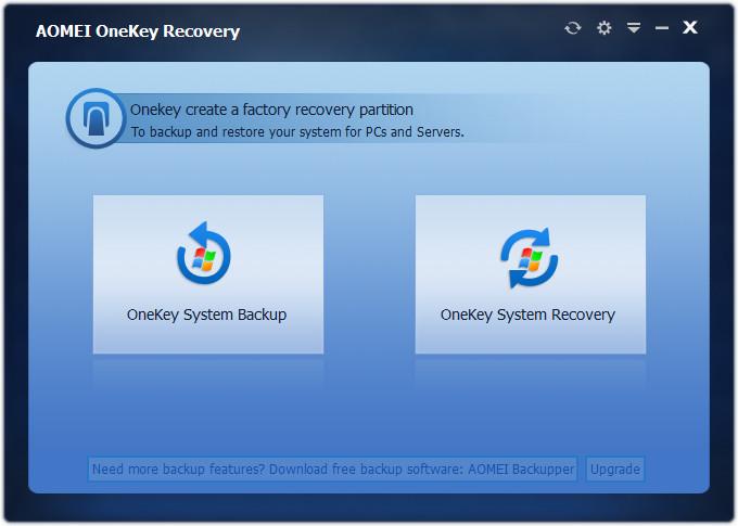 Screenshot 1 - Aomei OneKey Recovery