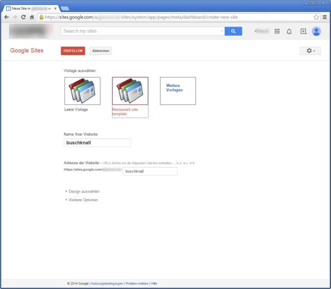 Screenshot 1 - Google Sites