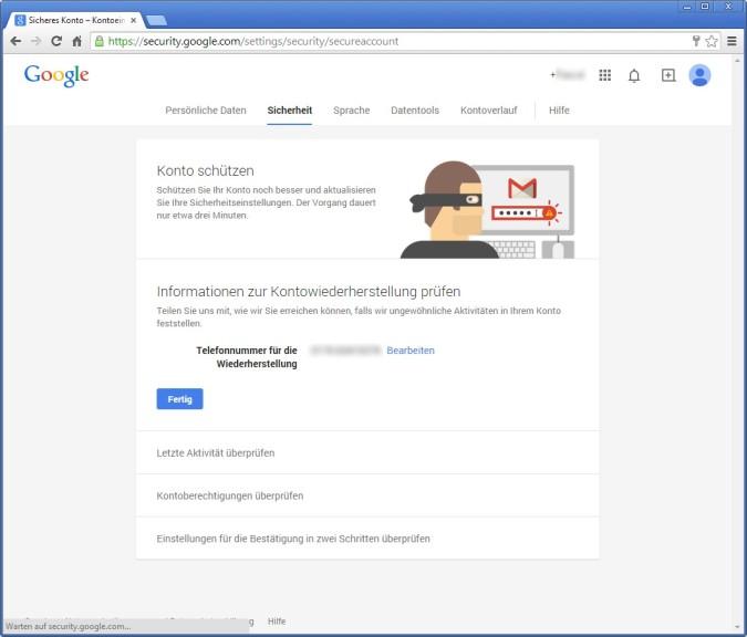 Screenshot 1 - Google Security Wizard