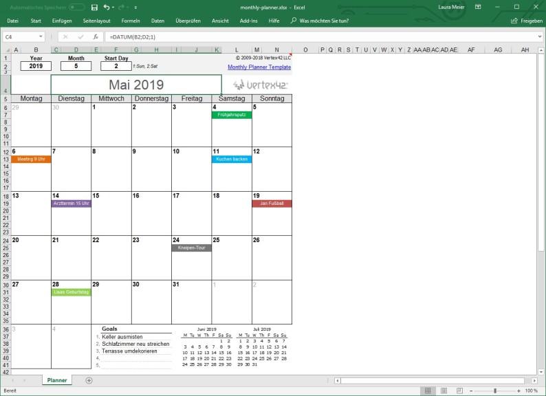 Screenshot 1 - Ewiger Kalender für Excel