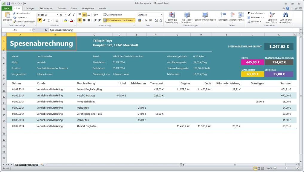 Reisespesenabrechnung Excel Vorlage Download Computer Bild