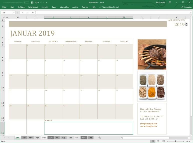 Screenshot 1 - Fotokalender (Excel-Vorlage)