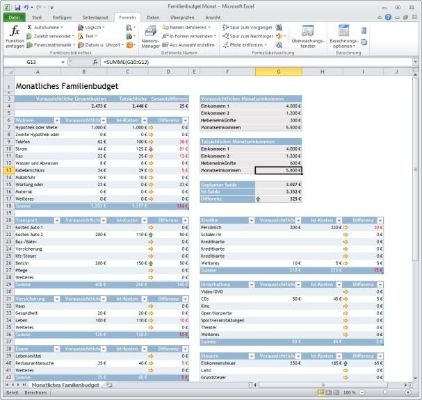 Monatliches Familienbudget (Excel-Vorlage) - Download - COMPUTER BILD