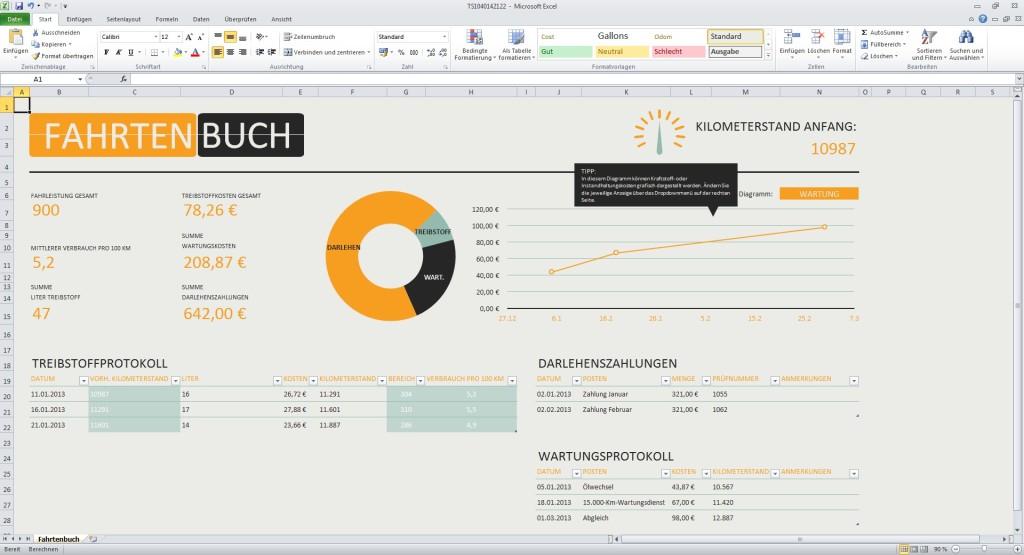 fahrtenbuch excel vorlage download computer bild - Fahrtenbuch Muster