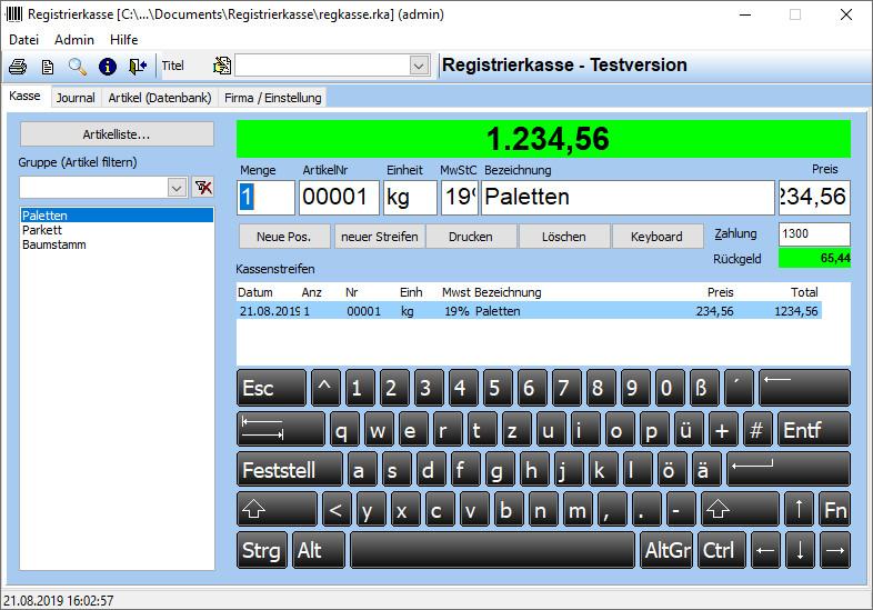 Screenshot 1 - Registrierkasse
