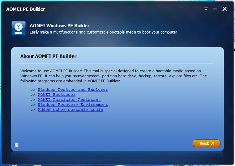 Screenshot 1 - Aomei PE Builder