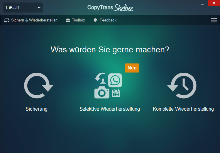 Screenshot 1 - CopyTrans Shelbee