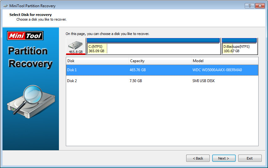 Screenshot 1 - MiniTool Partition Recovery Free