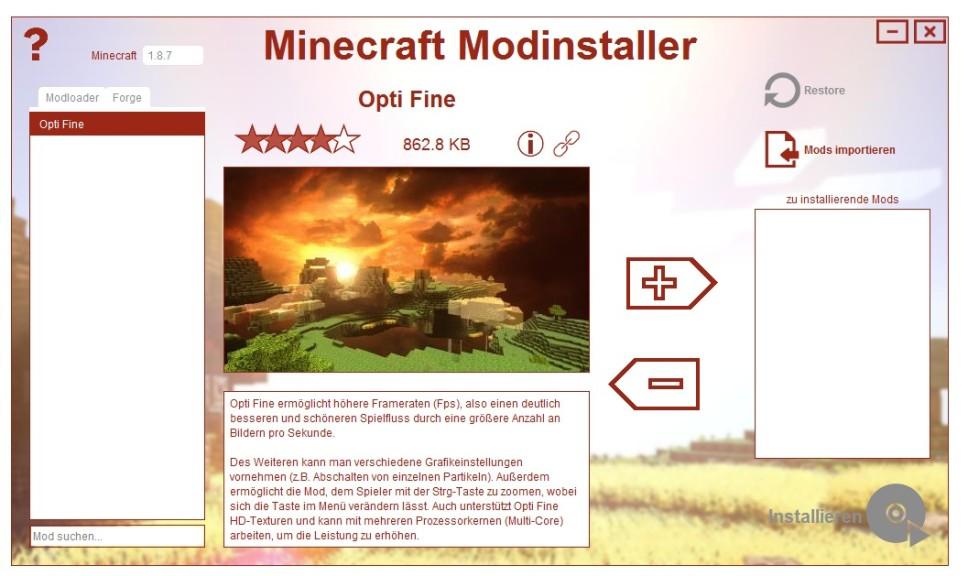 Screenshot 1 - Minecraft Modinstaller
