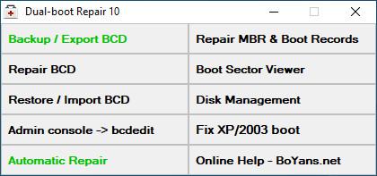 Screenshot 1 - Dual Boot Repair Tool