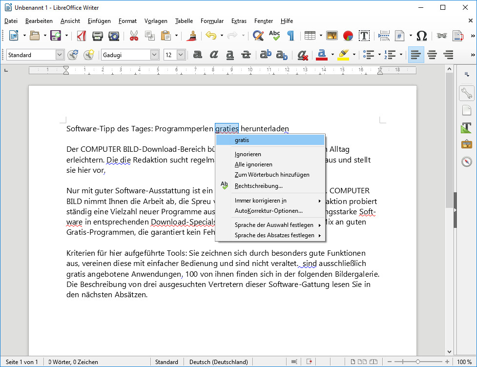 Screenshot 1 - LanguageTool für OpenOffice und LibreOffice