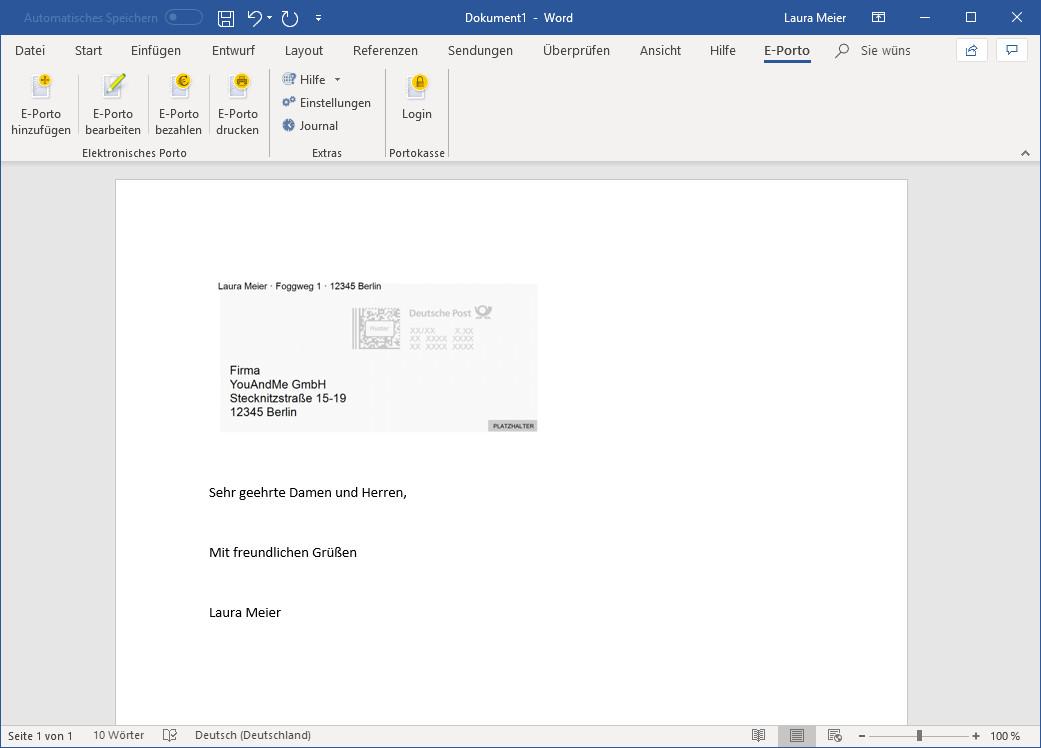 Screenshot 1 - E-Porto-Add-In für Microsoft Word