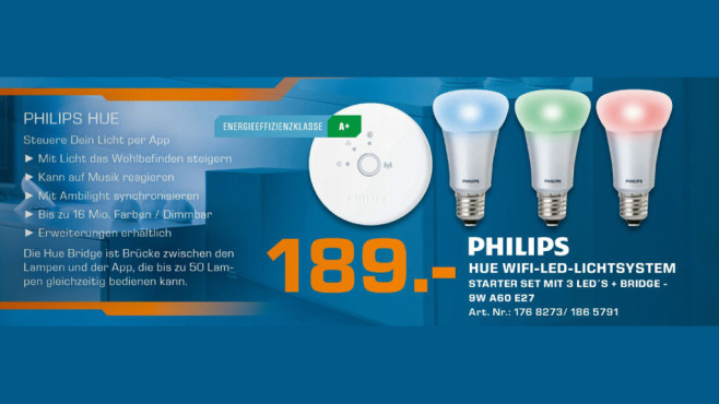 Philips Hue Connected Bulb Starter Pack ©Saturn