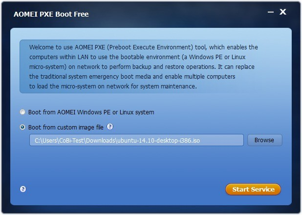 Screenshot 1 - Aomei PXE Boot Tool
