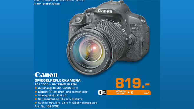 Canon EOS 700D Kit 18-55 mm © Saturn