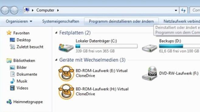 Virtual Clone Drive: Harmlose Schafsaugen für ISO-Dateien ©COMPUTER BILD