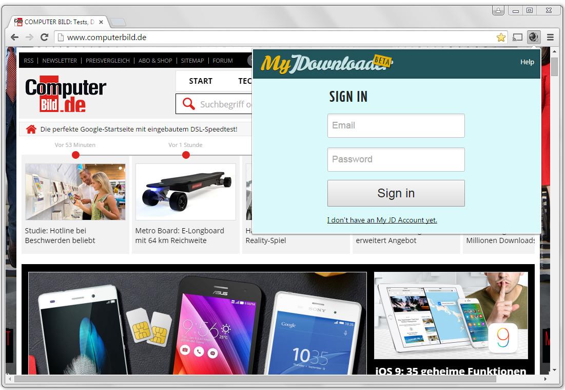 Screenshot 1 - My JDownloader für Chrome