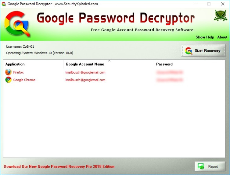 Screenshot 1 - Google Password Decryptor